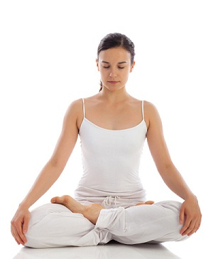 Young doing meditation
